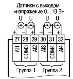 Подключение активных датчиков с выходом типа «Напряжение 0…10 В» (к входам I10… I12 аналогично)