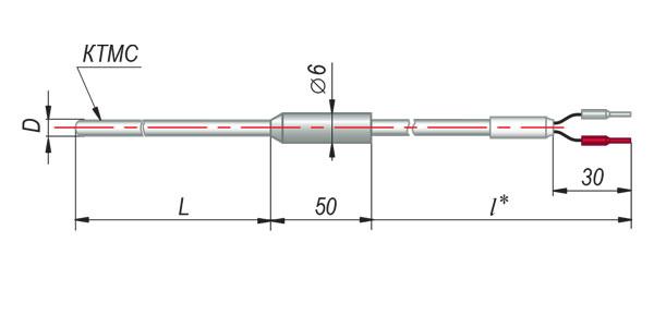 Конструктивные исполнения термопар с кабельным выводом модель 214
