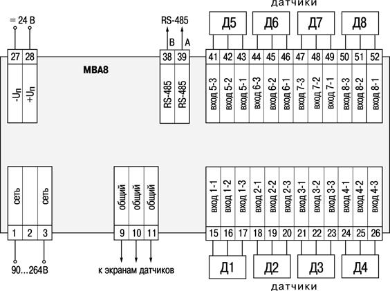 Общая схема подключения МВА8