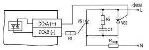 Схема подключения нагрузки к ВЭ типа «С» двух тиристоров, подключенных встречно-параллельно