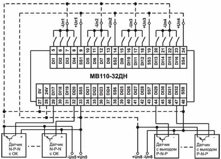 Схема подключения к МВ110-32ДН дискретных датчиков с транзисторным выходом p-n-p-типа, n-p-n-типа с ОК и с выходом типа «сухой контакт» (пример)