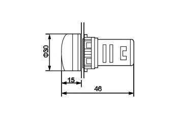 Габаритные размеры индикаторов напряжения и тока