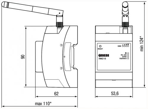 Габаритные и установочные размеры ПМ210