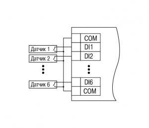 Схема підключення датчиків «сухі контакти»
