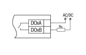 Схема підключення зовнішніх зв'язків до дискретних виходів типу «реле»