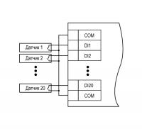 Схема подключения датчиков «сухие контакты»