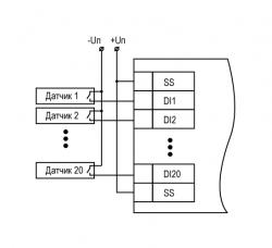 Схема подключения контактных датчиков