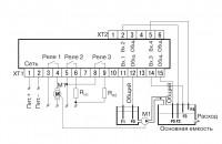 Схема подключения САУ-У. Для двух резервуаров и одного насоса, работающего на долив