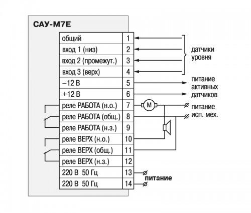 Общая схема подключения прибора САУ-М7Е