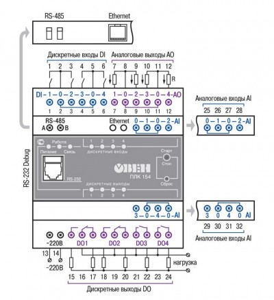 Схема підключення датчиків до дискретних входів ПЛК154
