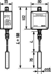 Габаритные размеры датчика температуры и влажности ПВТ100 в настенном исполнении с выносным зондом и высокотемпературным кабелем