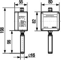 Габаритные размеры датчика температуры и влажности ПВТ100 в настенном исполнении