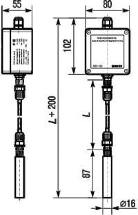 Габаритные размеры датчика температуры и влажности ПВТ100 в настенном исполнении с выносным зондом