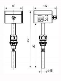 Габаритные размеры датчика температуры и влажности ПВТ100 в канальном исполнении