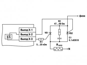 Схема подключения к ВУ вида С двух тиристоров, подключенных встречно-параллельно