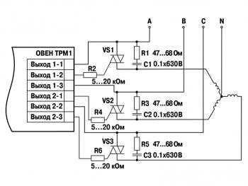 Схема подключения трех симисторных оптопар ВУ вида С3