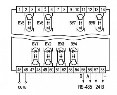 Схема подключения транзисторных оптопар прибора ОВЕН ТРМ138-К в корпусе Щ4