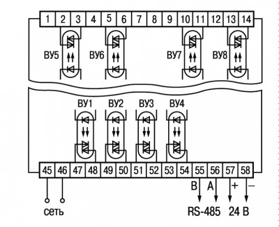 Схема подключения симисторных оптопар прибора ОВЕН ТРМ138-С в корпусе Щ4