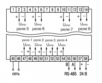 Схема подключения твердотельных реле прибора ОВЕН ТРМ138-Т в корпусе Щ4