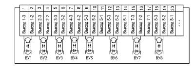 Схема подключения транзисторных оптопар прибора ОВЕН ТРМ138-К в корпусе Щ7