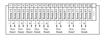 Схема подключения твердотельных реле прибора ОВЕН ТРМ138-Т в корпусе Щ7