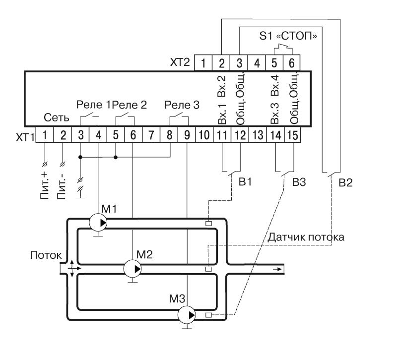 Схема подключения САУ-У. Для одной магистрали и трех насосов