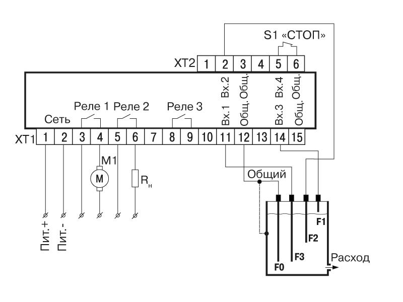 Схема подключения САУ-У. Для одного резервуара и одного насоса, работающего с гистерезисом
