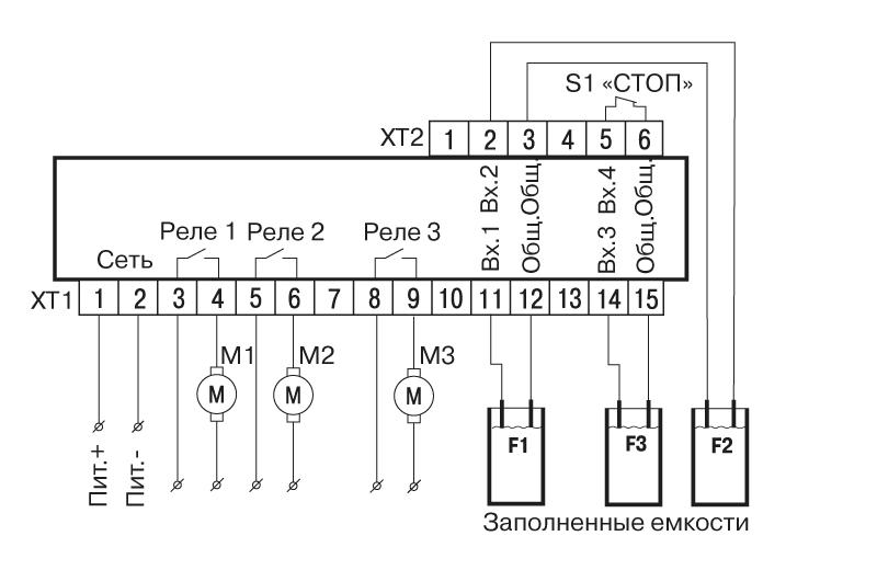 Схема подключения САУ-У. Для трех резервуаров и трех насосов