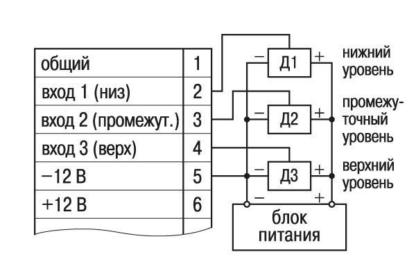Схема подключения активных датчиков Д1-Д3 при питании их от внешнего источника