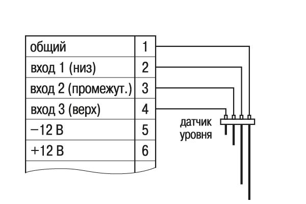 Схема подключения кондуктометрических датчиков уровня