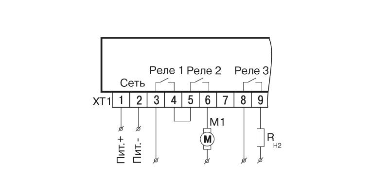 Схема подключения САУ-У. Схема для алгоритма 20 с защитным отключением насоса М1