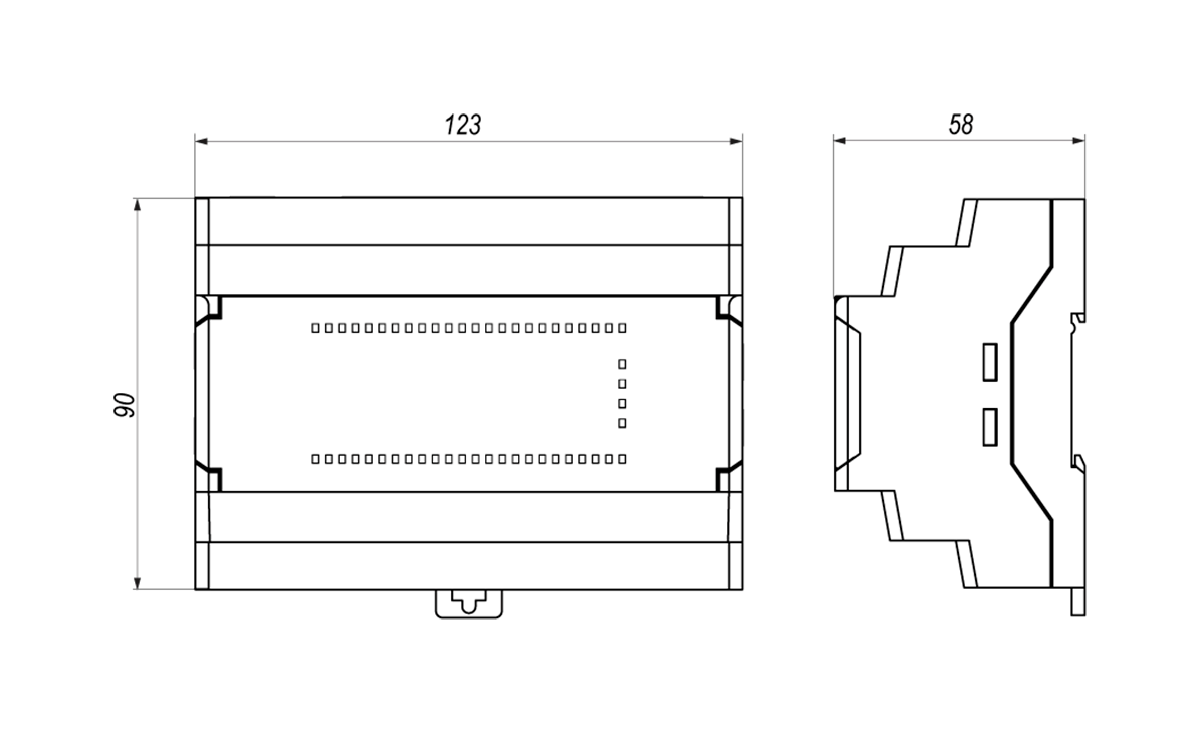 Габаритные и установочные размеры ПР102