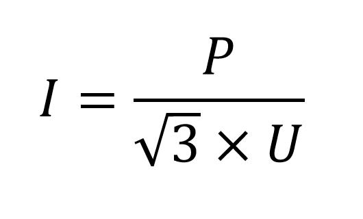 Формула розрахунку номінального струму приладу (I)