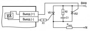 Схема подключения нагрузки к ВЭ типа «С» двух тиристоров