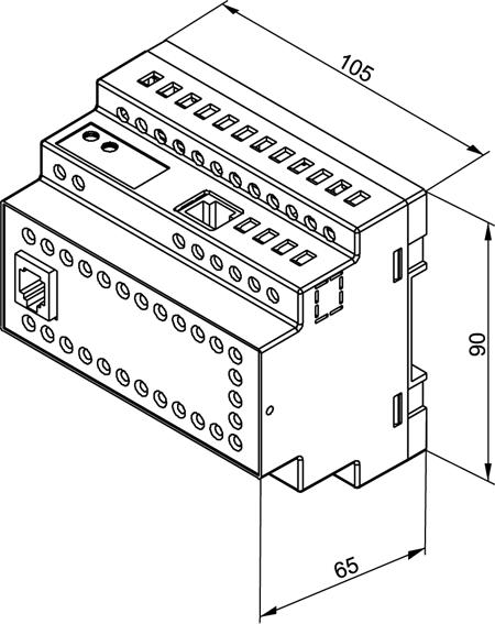 Габаритные и установочные размеры ПЛК150