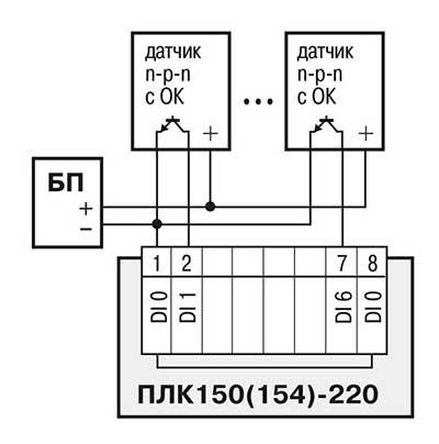 Схема подключения к ПЛК150 дискретных датчиков с полупроводниковым выходным каскадом