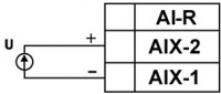 Схема подключения активного датчика с выходом в виде напряжения