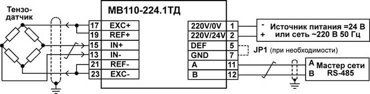 Подключение к прибору МВ110-224.1ТД внешних устройств