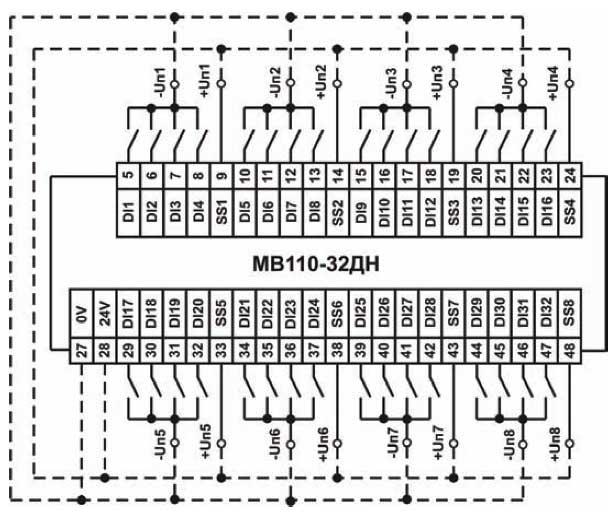 Схема підключення до МВ110-32ДН дискретних датчиків з виходом типу «сухий контакт»