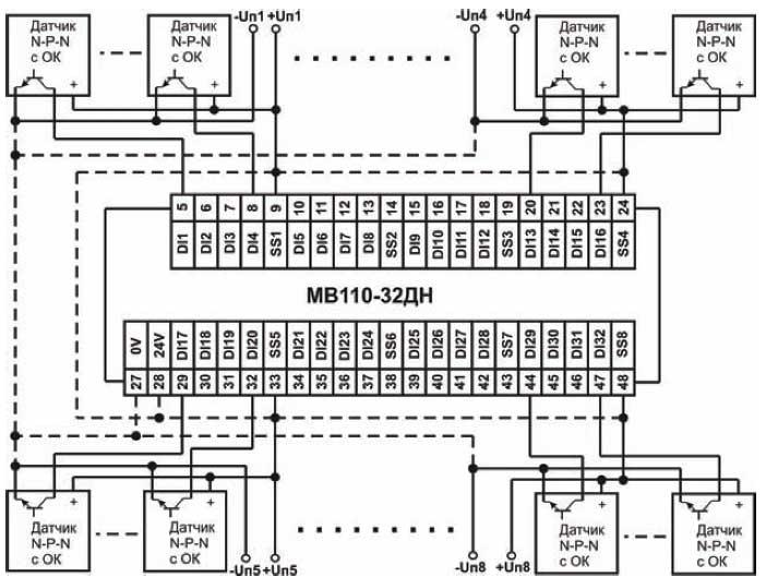 Схема підключення до МВ110-32ДН дискретних датчиків з транзисторним виходом npn-типу з ОК