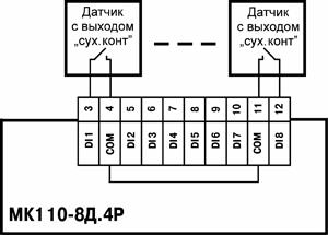 Схема підключення до МК110-8Д.4Р дискретних датчиків з виходом типу «сухий контакт»