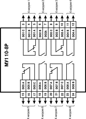 Схема подключения к ВЭ типа электромагнитное реле