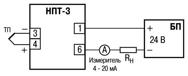 Схема подключения ТС к преобразователю