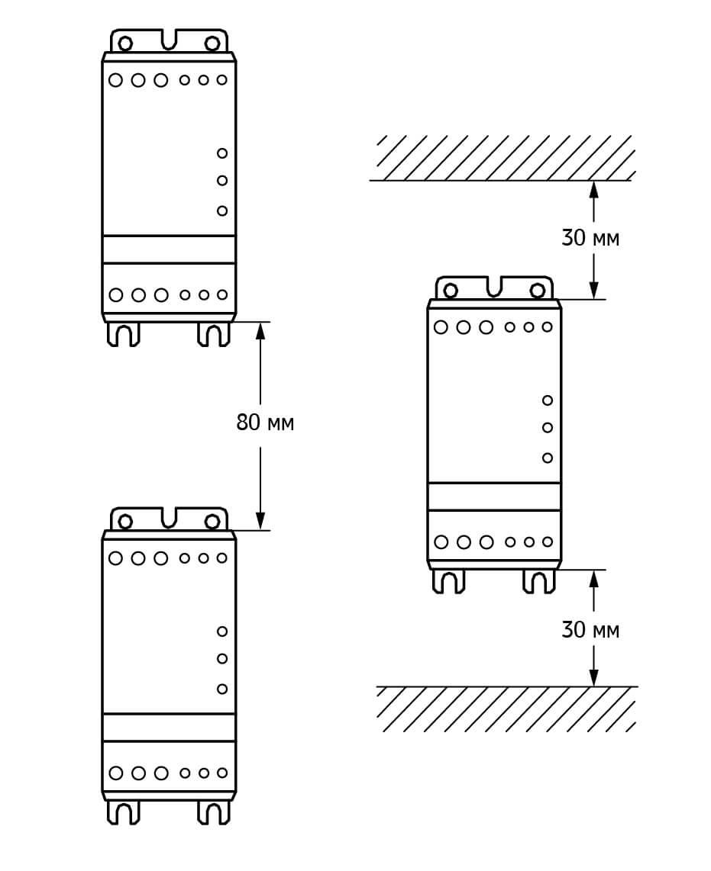 Расстояние между УПП1 при монтаже в шкафу