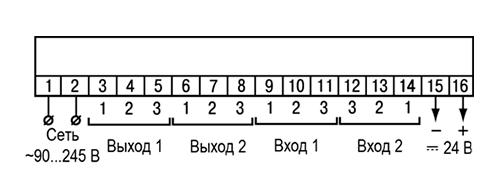 Назначение контактов клеммной колодки прибора в настенном Н и щитовом Щ1, Щ2 типах корпусов